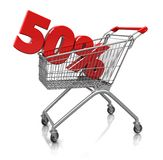 50 percent in cart. Red fifty percent placed in shop cart isolated on a white background Stock Illustration
