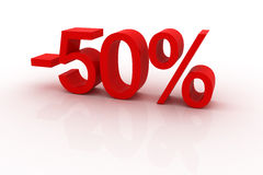 50 percent discount. Red sign showing a 50 percent discount Royalty Free Stock Photos