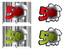 50 percent discount. With barcode Stock Photography