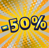 -50 percent discount. Yellow sign showing a -50 percent discount Stock Image