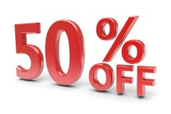 50 percent discount. 50 percent sale discount. 3d image Royalty Free Stock Photography