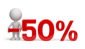 50 percent discount. 3d person advertises 50 percent discount. 3d image. White background Stock Photos