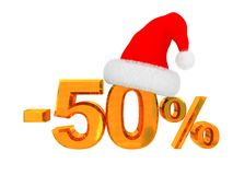 50 percent discount. 3d illustration of christmas 50 percent discount sign Royalty Free Stock Photography