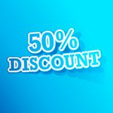 50 percent Discount Sticker. Illustration of sticker of 50 percent discount tag in paper cut out stock illustration