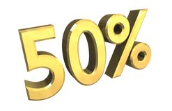 50 percent in gold (3D) royalty free illustration