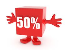 50 Percent off. Discount happy figure Stock Photo