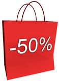 50 Percent Off Shopping Bag. Rendered shopping bag indicating 50 percent off isolated on a white background vector illustration