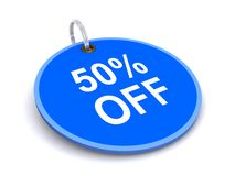 50 percent off tag. Illustration of 50% off tag isolated on white background Stock Photography