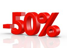 50 Percent red. The three-dimensional text 50 Percent, red Stock Illustration