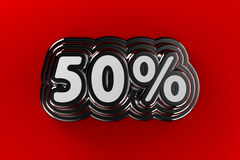 50 Percent Sign. Fifty percent sign in chrome over gradient red background Stock Images