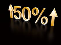 50 percent up on black. 3d royalty free illustration