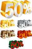 50% percentage Royalty Free Stock Photos