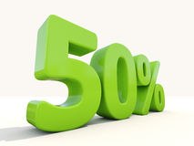 50% percentage rate icon on a white background. Fifty percent off. Discount 50%. 3D illustration Stock Photo