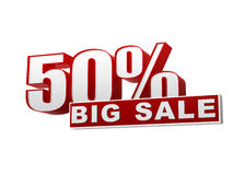 50 percentages big sale red white banner - letters and block Stock Photos