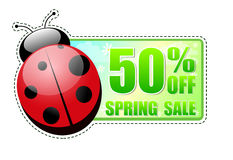 50 percentages off spring sale green label with ladybird. 50 percentages off spring sale banner - text in green label with red ladybird and white flowers royalty free illustration