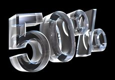 50 percenten in (3D) glas Royalty-vrije Stock Foto
