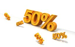 50 Percents. 3d render with high resolution. 50 percents stock illustration