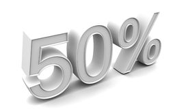 50 Percents. 3d render with high resolution. 50 percents Stock Image