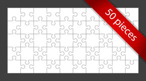 50-Piece Puzzle. Blank white jigsaw puzzle with red 50 pieces banner Royalty Free Stock Image