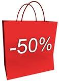 50 por cento fora do saco de compra Fotografia de Stock Royalty Free