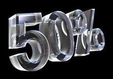50 por cento no vidro (3D) Foto de Stock Royalty Free