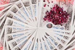 50 pound sterling bank notes with diamonds Royalty Free Stock Images