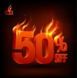 50 pour cent ardents hors fonction, fond de vente. Images libres de droits