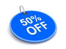 50 pour cent outre d'étiquette Photographie stock