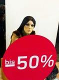 50 procent försäljning Arkivbild