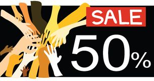50% promotion sale. Many people to cooperate enjoy shopping and catch in promotion sale Royalty Free Stock Photos