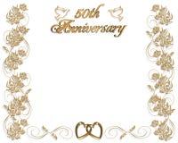 50 år för årsdaginbjudanbröllop Royaltyfri Bild