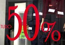50% Rabattverkäufe Stockbilder