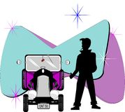 50's greaser dude. Greaser with thumb extended in silhouette from 50's era with his hot rod Royalty Free Illustration