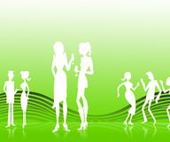 50's party. White silhouettes on a retro stylish light background royalty free illustration