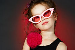 50's star. Portrait of little girl in 50'style Royalty Free Stock Photography