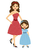 50`s style mom and daughter. A vector illustration of mom and daughter 50`s style Royalty Free Stock Images