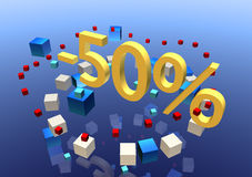 50% sale. A promotional illustration with three-dimensional figures advertising a 50% off sale Royalty Free Stock Photography