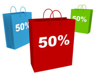 50% Sale. Three shopping bags showing 50% discount and clearance isolated on white Stock Photography