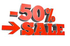 50% SALE discount text Royalty Free Stock Images