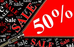 50% Sale placard and zipper opening concept Royalty Free Stock Image