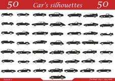 50 siluetas de los coches Imágenes de archivo libres de regalías