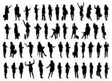 50 siluette delle donne di affari Fotografie Stock Libere da Diritti