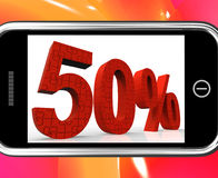 50 On Smartphone Showing Special Offers And Promotions. 50% On Smartphone Showing Special Offers And Promotions royalty free illustration