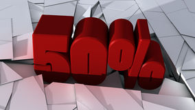 50 %. Special Offer. 3d design. 3d red text 50% and broken ground stock illustration