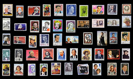 50 stamps of personalities Royalty Free Stock Photography