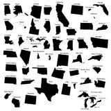 50 States. The 50 states of America as black elements Stock Photo