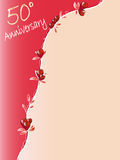 50 th anniversary. 50th anniversary background with red roses Royalty Free Stock Photo