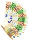 50 y 100 notas euro Fotos de archivo libres de regalías
