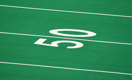 50 Yard Line. Of a Football Field Stock Photography