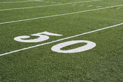 50 Yard Line On American Football Field. With artificial turf Royalty Free Stock Photos